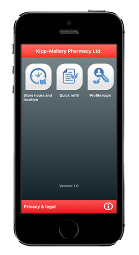 Kipp-Mallery Pharmacy App - Available in the Apple App Store and Google Play Store